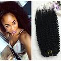 Brillo completo Rizado Brasileño ins Clip Afro Kinky Rizado Clip en Clip ins extensiones 7 unids 100g Pelo Virginal Color Natural en Stock