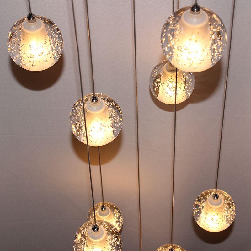 Modern Sphere Lights Led Meteor Shower Crystal Chandelier Meteor Shower Light Fixtures Lamp Home Decors Guaranteed 100%