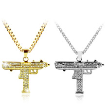 Fashion Hip Hop Gold Silver Color Necklace Long Chain Zircon Alloy Iced Out crystal Sub Gun Uzi Pendant Jewelry