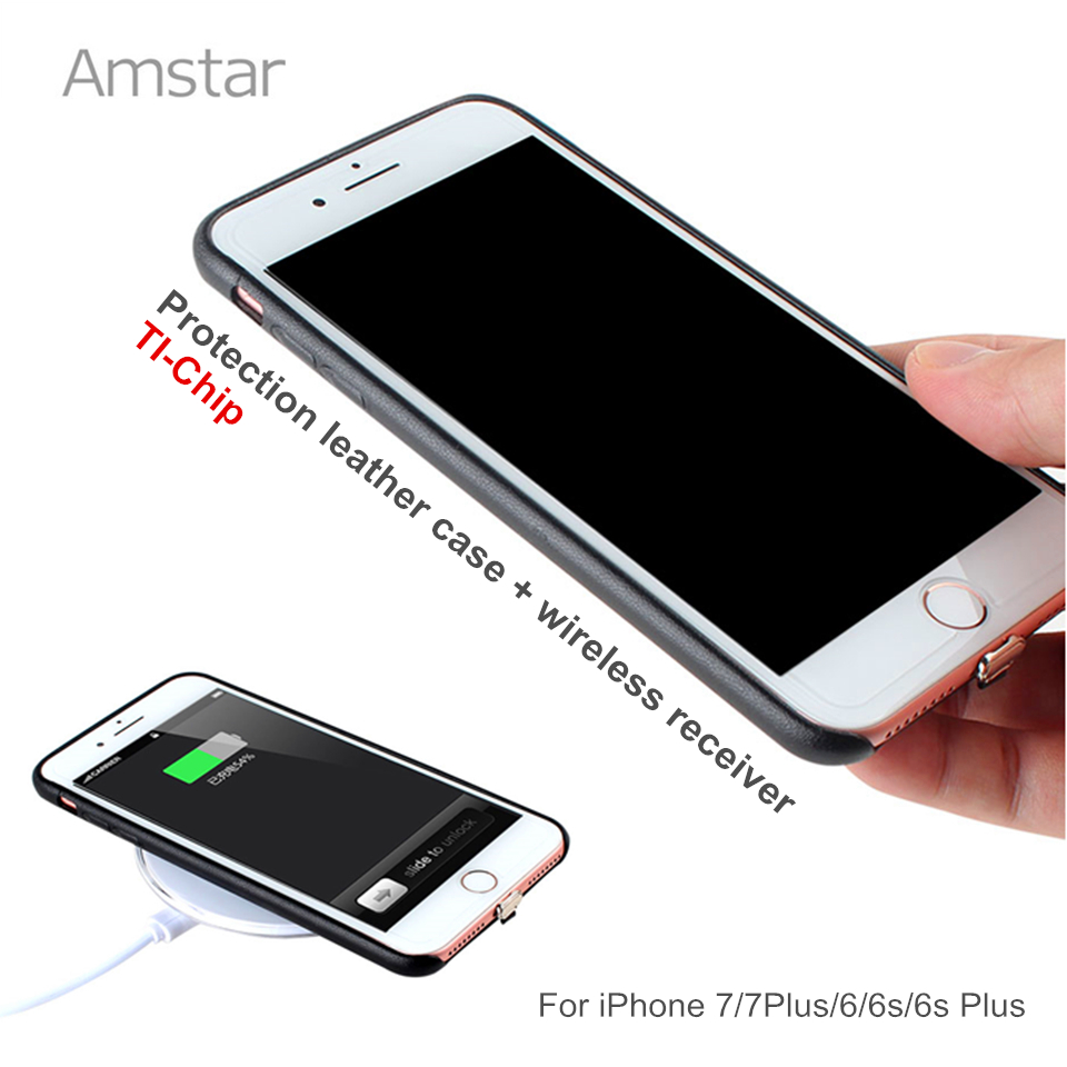 Amstar <font><b>Qi</b></font> Wireless Charger Receiver Case Cover for <font><b>iphone</b></font> 7 7Plus <font><b>6</b></font> 6Plus 6s 6sPlus Leather Wireless Charging Transmitter Case image