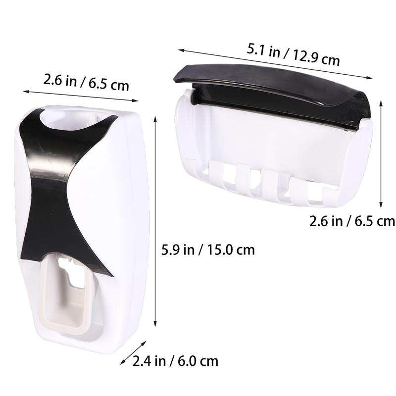 Image 5 - 2Pcs Wall Mounted Toothbrush Holder Manual Toothpaste Squeezer Suction Toothbrush Hanger Home Bathroom Accessories Set (Black)-in Toothbrush & Toothpaste Holders from Home & Garden