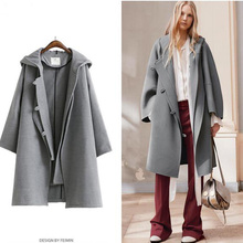 new woman top coat woollen homemade Street hooded two piece broadcloth loose long sleeved women size coat in autumn and winter