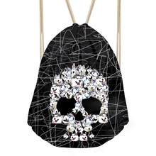 Noisy Designs Punk Skull  Women Men Drawstrings Bag Backpacks Softback Storage Beach Bags Daypacks Street Fresh Bags Sac A Dos