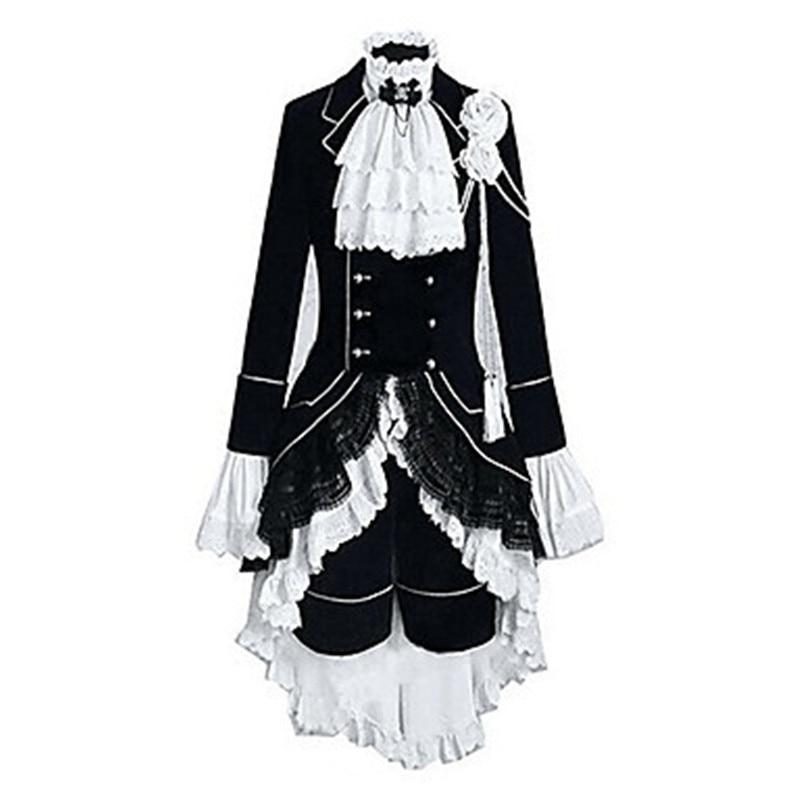 Black Butler Ciel Phantomhive Cosplay Costumes Cosplay Black Suits Color Block Patchwork Long Sleeves Vest Shirt Skirt