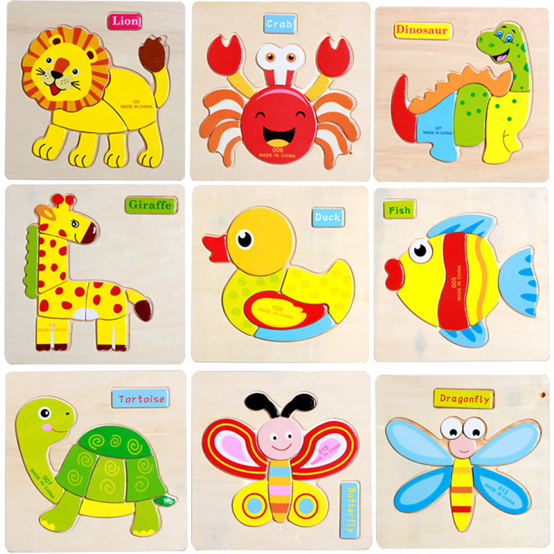 child Wooden Jigsaw Puzzle multiple styles Multilayer Animals Puzzles Baby Intelligence Educational Toys for children kids gifts 1