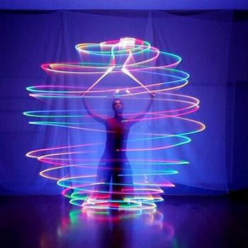 Commercio allingrosso 6 pz 10cs danza del ventre balls RGB glow LED POI generata sfere di pancia mano danza puntelli di prestazione della fase accessorio
