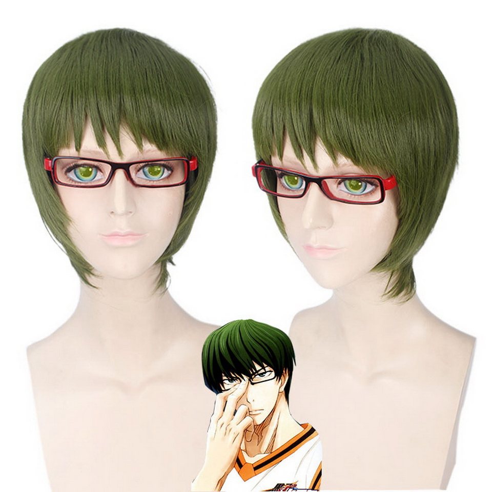 Anime Costumes Kuroko No Basket Midorima Shintaro Green Short Cosplay Wig Men Heat Resistant Synthetic Anime Hair Halloween Costume Wigs 25cm Curing Cough And Facilitating Expectoration And Relieving Hoarseness