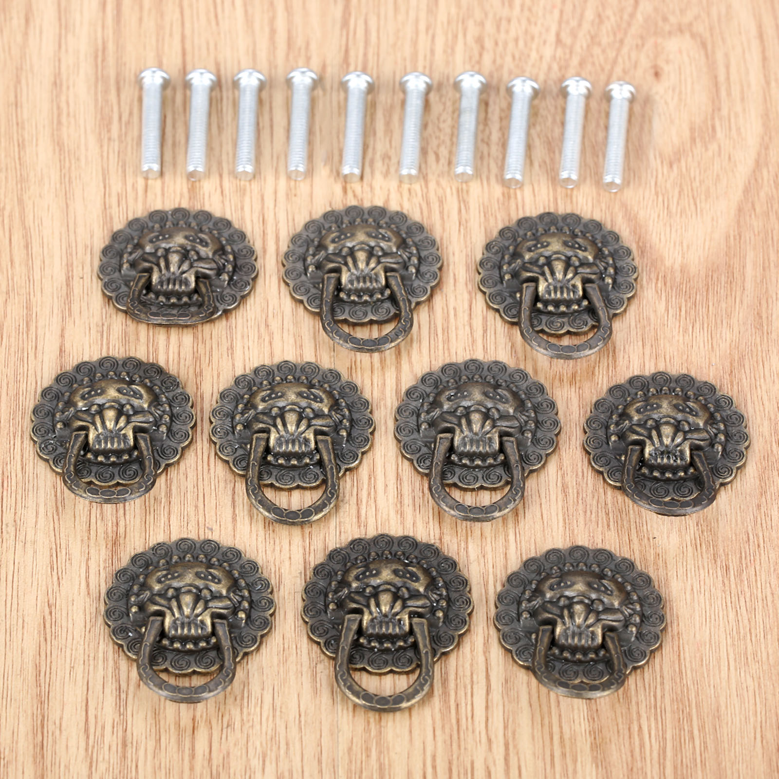 10Pcs Furniture Handles 29*37mm Beast for Lion Head Antique Alloy Handle Wardrobe Drawer Door Pull Retro Decoration With Screw