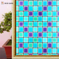 60 200cm Opaque Color Box Mosaic Frosted Window Films PVC Static Cling Self Adhesive Privacy Glass