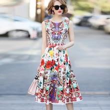 5318b0a0e64 2018 New Summer Sleeveless T-shirt Couture Blended Slim Long Retro Print  Dress High End