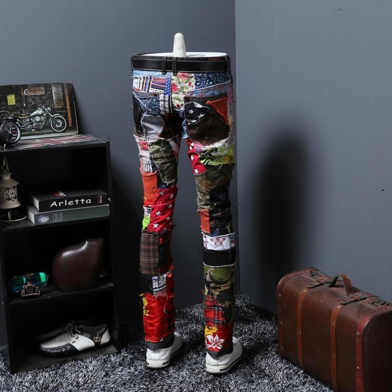 Autumn Split Joint Personality Leisure Time Jeans Male Beggar Pants Long Pants Trend Directly Canister Self-cultivation Youth