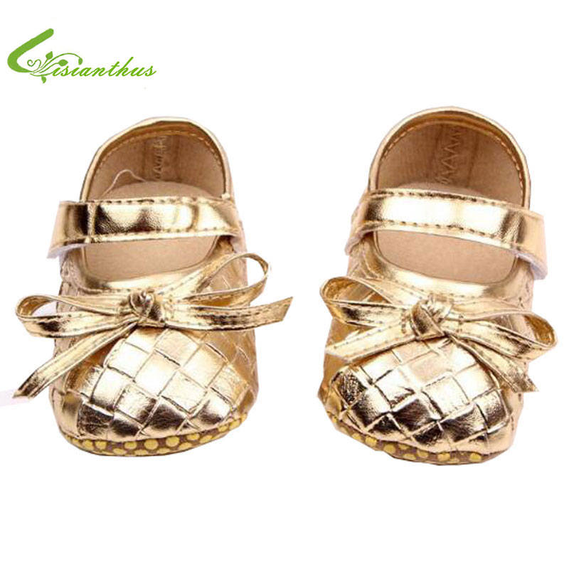 PU Leather Newborn Baby Girl Soft Shoes With Butterfly-knot For First Walker Toddler Soft Soled Non-slip Footwear Crib Shoes