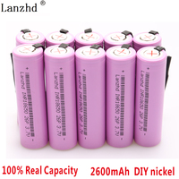 10 40PCS 18650 batteries INR18650 for samsung Battery 18650 Rechargeable batteries Li ion 2600mAh 3.7V DIY Nickel Sheets