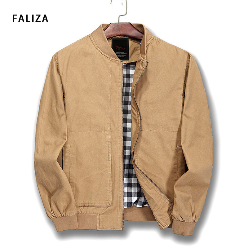 FALIZA 2018 New Pure Cotton Men's Bomber Jacket Men Spring Autumn Fashion Slim Pilot Coat Mens Army Green Windbreaker,JK122