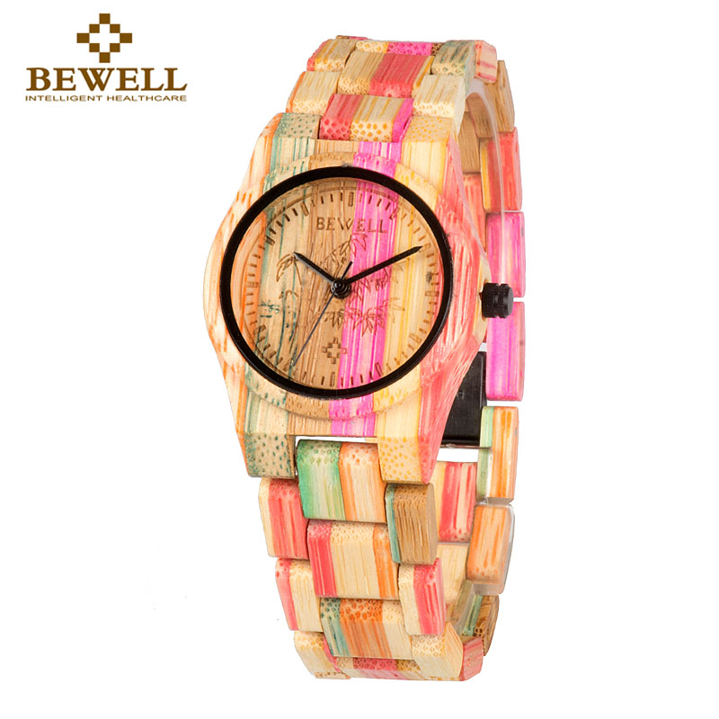BEWELL Fashion Watch Bracelet Feminino Water-Resistant Luxury Girl Colorful Life Bamboo