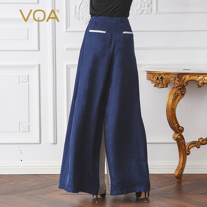 26432b368c4 VOA Silk Wide Leg Pants Women High Waist Plus Size Palazzo Pants Office  Trousers Winter Loose Long Fall Striped Broeken KLH05701-in Pants   Capris  from ...