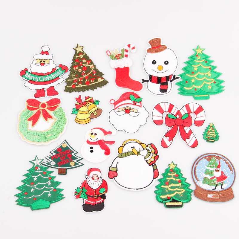 1 ピースクリスマススタイルパッチ衣類の鉄刺繍縫製アップリケかわいいパッチ生地バッジ衣服 Diy のアパレルアクセサリー