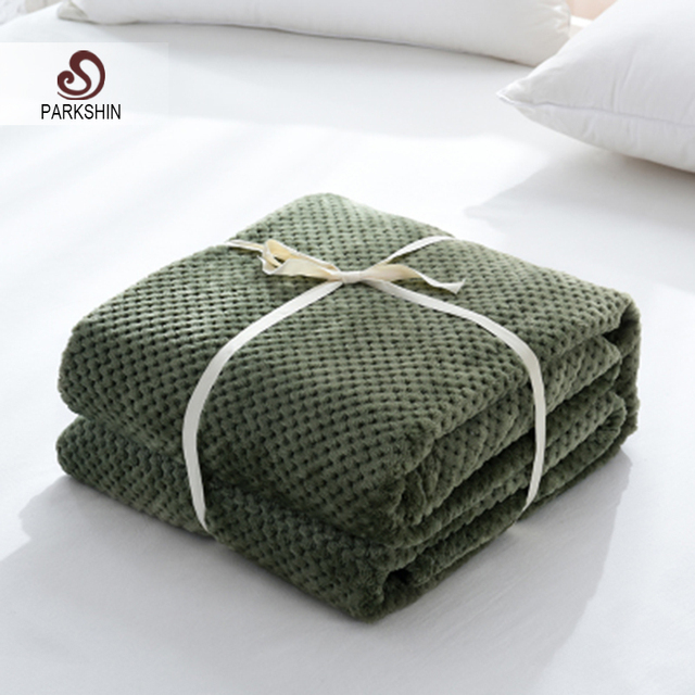 Parkshin Modern Green Flannel Pineapple Blanket Aircraft Sofa Office Adult Use Blanket Car Travel Cover Throw Blanket For Couch