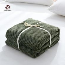 Parkshin الحديثة الأخضر الفانيلا الأناناس بطانية الطائرات أريكة مكتب الكبار استخدام بطانية سيارة السفر غطاء رمي بطانية ل الأريكة
