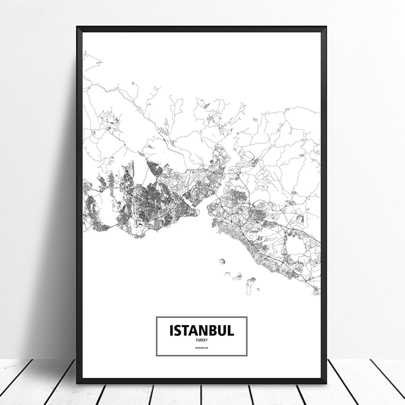 US $11.98  Istanbul, Turkey Black White Custom World City Map Poster Canvas  Print Nordic Style Wall Art Home Decor-in Painting & Calligraphy from Home  ...