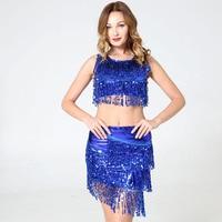 BLINGSTORY 2pcs/set Fringe Belly Dance Skirt Sequin Tassel Bellydance Costume Female Cheerleader Suits Stage Performance Clothes