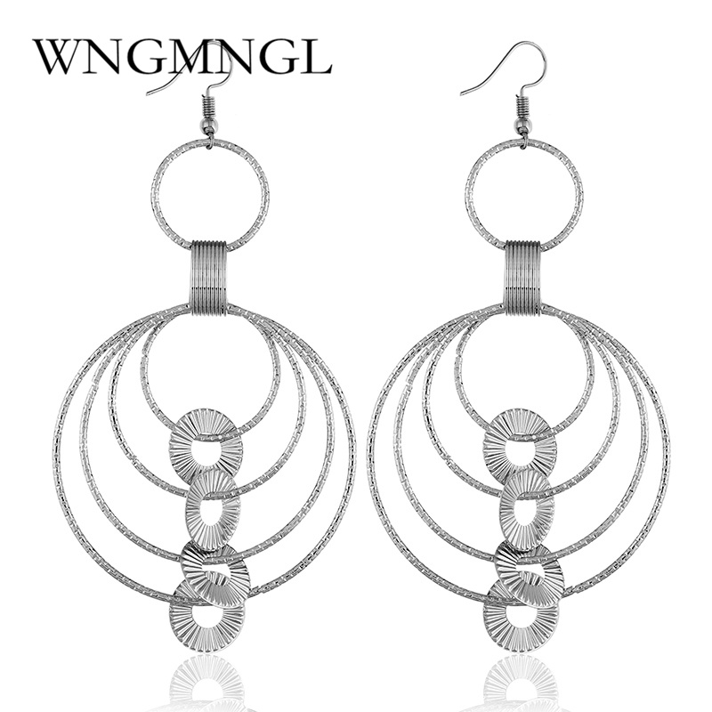 WNGMNGL Fashion Geometric Long Statement Drop Earrings Simple Gold Sliver Color Multi layer Dangle Earrings For Women Jewelry in Drop Earrings from Jewelry Accessories