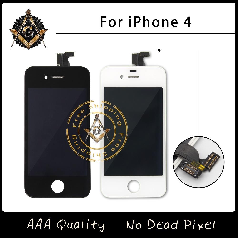Prix pour Excellente LCD avec de la poussière Mesh écran tactile Digtizer assemblée pour iPhone 4 / 4S écran livraison gratuite