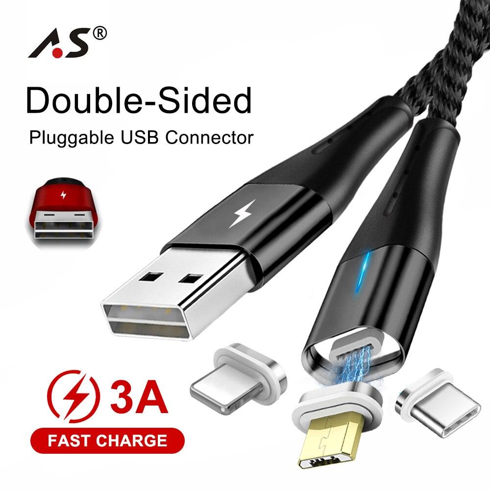 As Doppelseitige Micro Usb Kabel Magnetische Usb Kabel Für Iphone Samsung S10 Typ C Magnetic Charging Draht Daten Handy Kabel