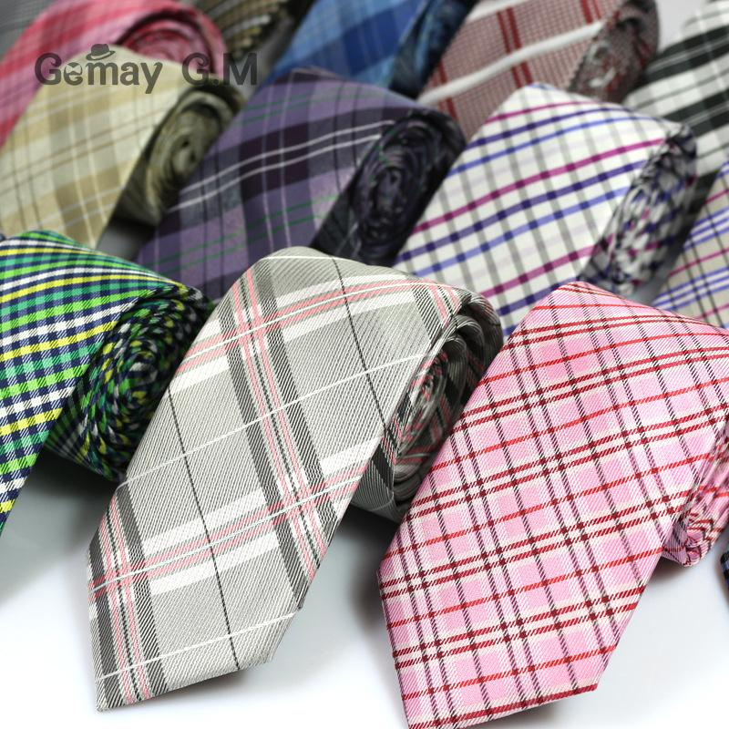 New Classic England Style JACQUARD WOVEN Polyester Plaid Men's Tie 6cm Width Skinny Necktie For Man