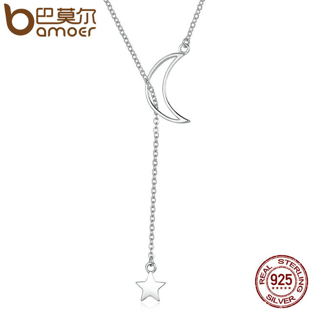 BAMOER New Arrival Fashion 925 Sterling Silver Moon and Star Tales Chain Link Pe