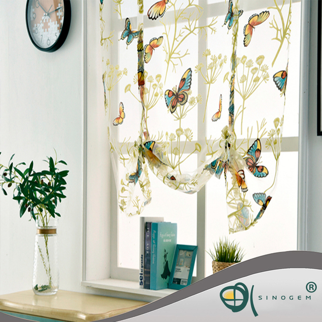 Sinogem Kitchen short sheer curtains burnout roman blinds butterfly sheer panel tulle window treatment door curtains home decor