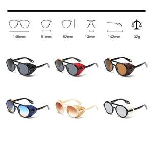 Image 4 - KEITHION מותג עיצוב Steampunk עגול משקפי שמש אופנה נשים גברים משקפיים שמש רטרו Goggle UV400 גווני Eyewear 9757
