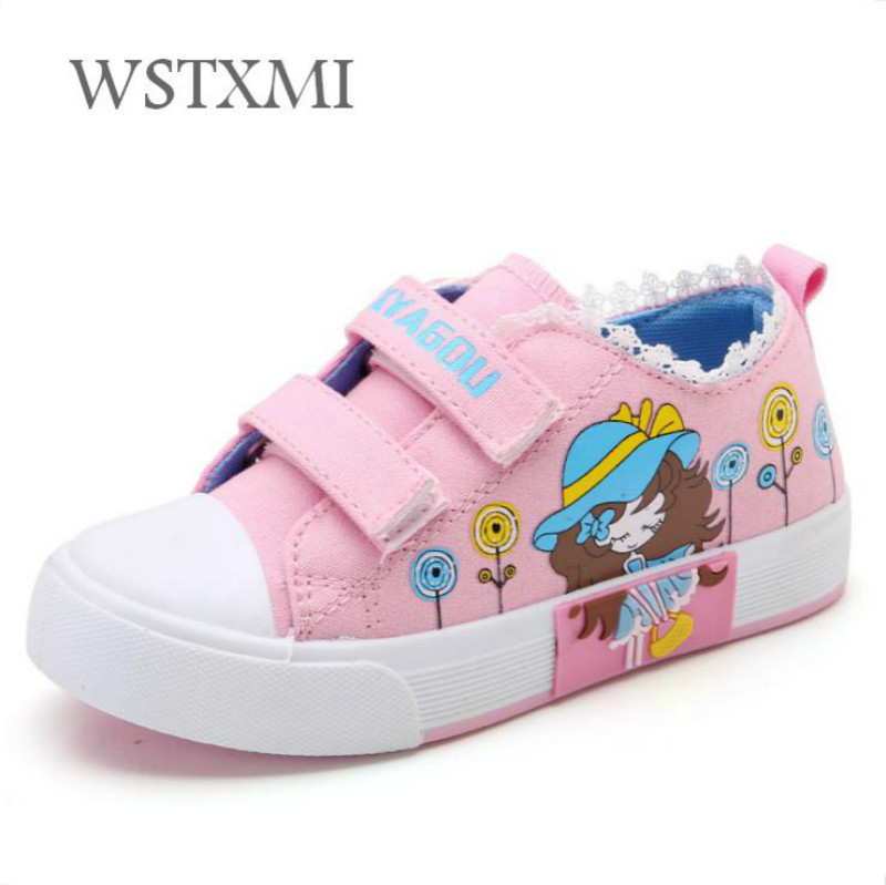 New Girls Canvas Shoes Kids Sneakers Spring Autumn Pink Lace Flat Running Shoes Breathable Fashion Children Casual Student Sport
