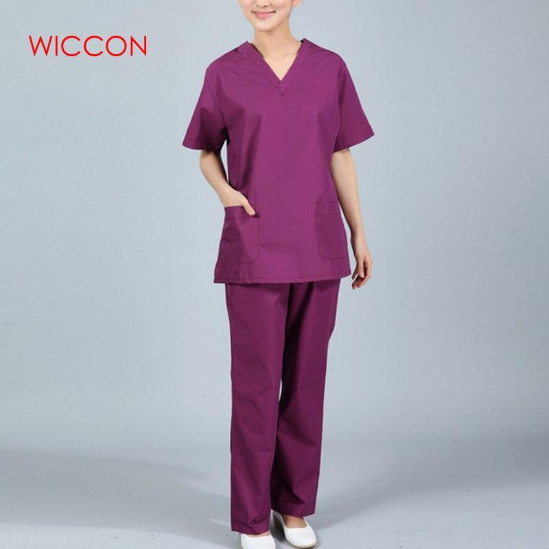 WICCON New Women V Neck Summer Nurse Uniform Hospital Medical Scrub Set Clothes Short Sleeve Surgical Scrubs Solid Hot Unitform