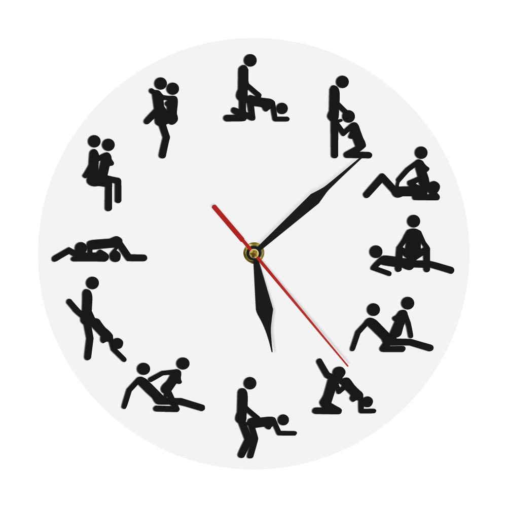 Wall-Clock Funny Sex Positions 24-Hours Adult Naughty Time Zegar title=
