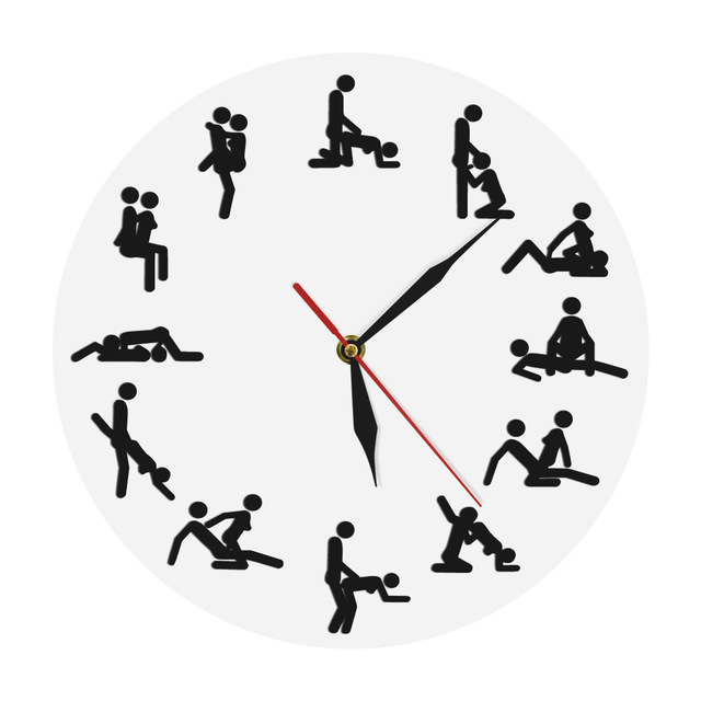 24 hours Sex Positions Wall Clock Sex Wall Watch Zegar Kamasutra Clock Sex Watch Funny Naughty Time Clock Adult Wall Clock