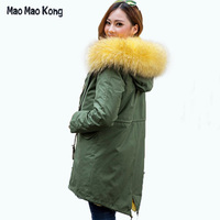 Высокое качество бренда 2017 большой из меха енота с капюшоном Длинные зимняя куртка женская парка натуральной пальто с мехом для женщин толс