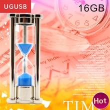 Hot promotion !! Nice gift hourglass crystal Metal Usb flash drive sandglass Pen drive Usb memory stick disk Custom logo 16GB