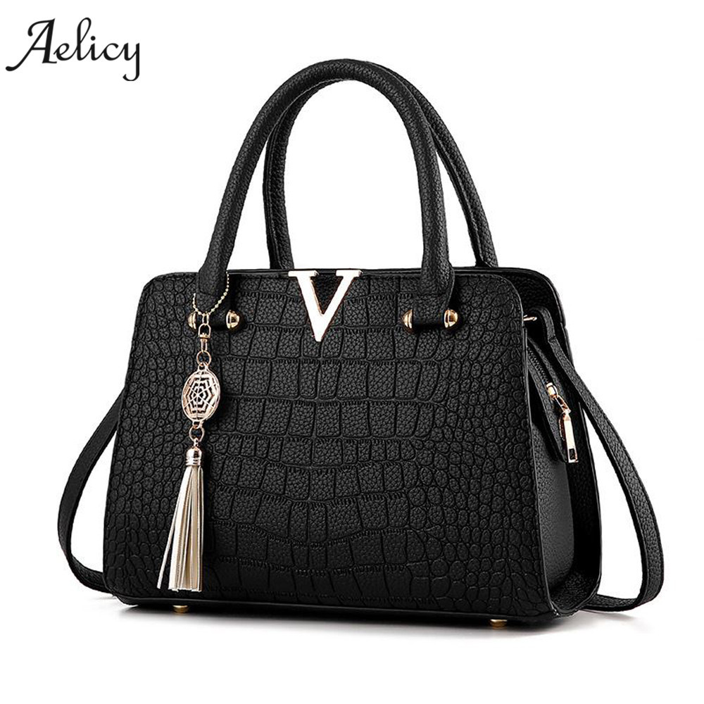Aelicy Woman Tassel Crossbody Bag Leather Handbag Alligator Pattern Shoulder Bag luxury  ...