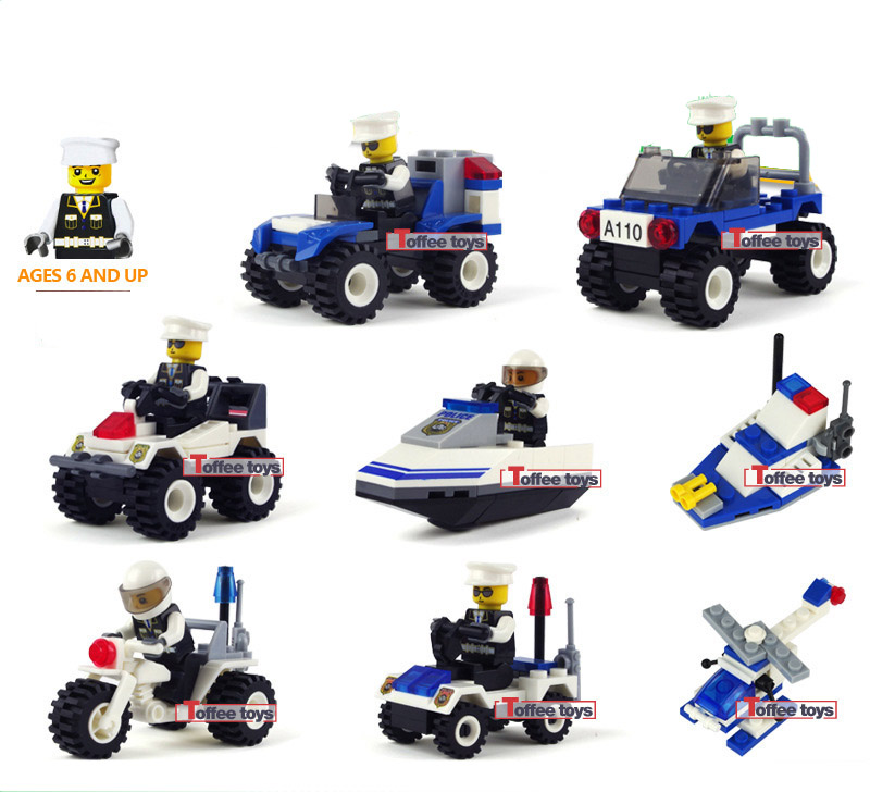 aliexpresscom buy police car item model building blocks toys retail construction boy kids models boat helicopter simulation 3d playmobil toy ma101 from