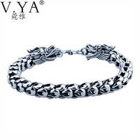 Genuine 100 Real Pure 925 Sterling Silver Bracelet 5 7MM Thickness Dragon Scale Bracelets For Men
