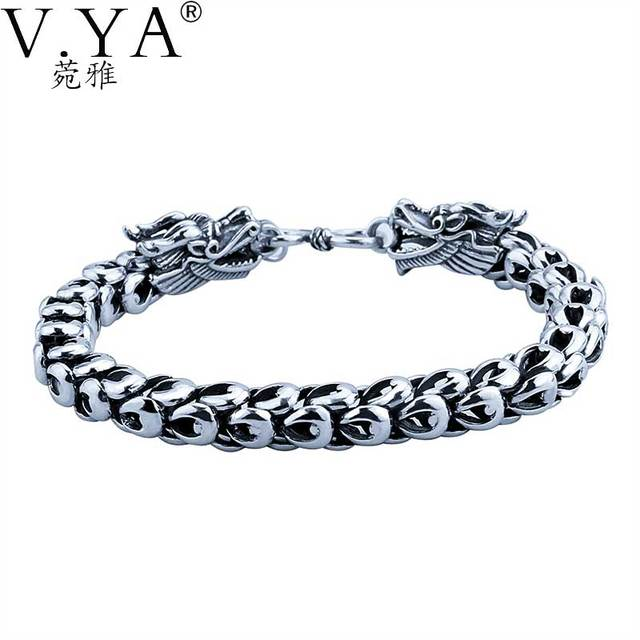Genuine 100 Real Pure 925 Sterling Silver Bracelet 5 7mm Thickness Dragon Scale Bracelets