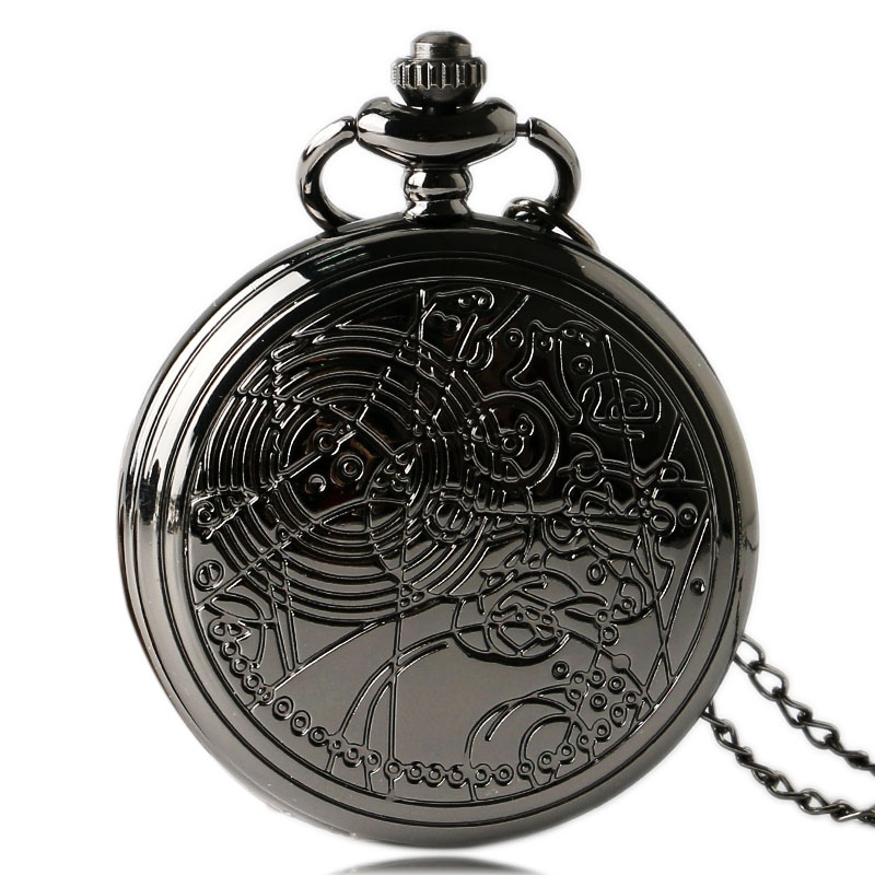 Cool Black Doctor Who Theme Quartz Pocket Watches Retro Dr. Who Fob Watches With Necklace Chain For Men Boys Gift
