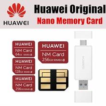 화웨이 nm 카드 100% 오리지널 90 메가바이트/초 64 gb/128 gb/256 gb usb3.1 gen 1 nano 메모리 카드 판독기가있는 mate20 pro mate20 x p30 적용
