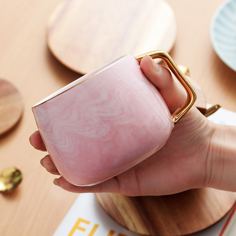 Creative Ceramic Mug Wooden Cover Wooden Base Coffee Milk Cup Breakfast Cup Nordic Style Marbled Gold Mug Modern Minimalist in Mugs from Home Garden