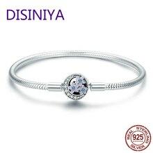 купить DISINIYA 100% 925 Sterling Silver Spring Flower and Luminous Moon Clasp Snake Chain Bracelet Sterling Silver Jewelry S925 SCB068 дешево