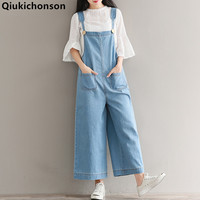 Qiukichonson Wide Leg Jumpsuit With Pockets 2018 Spring Summer Womens Rompers Plus Size Jumpsuits Mori Girl Denim Overalls Women