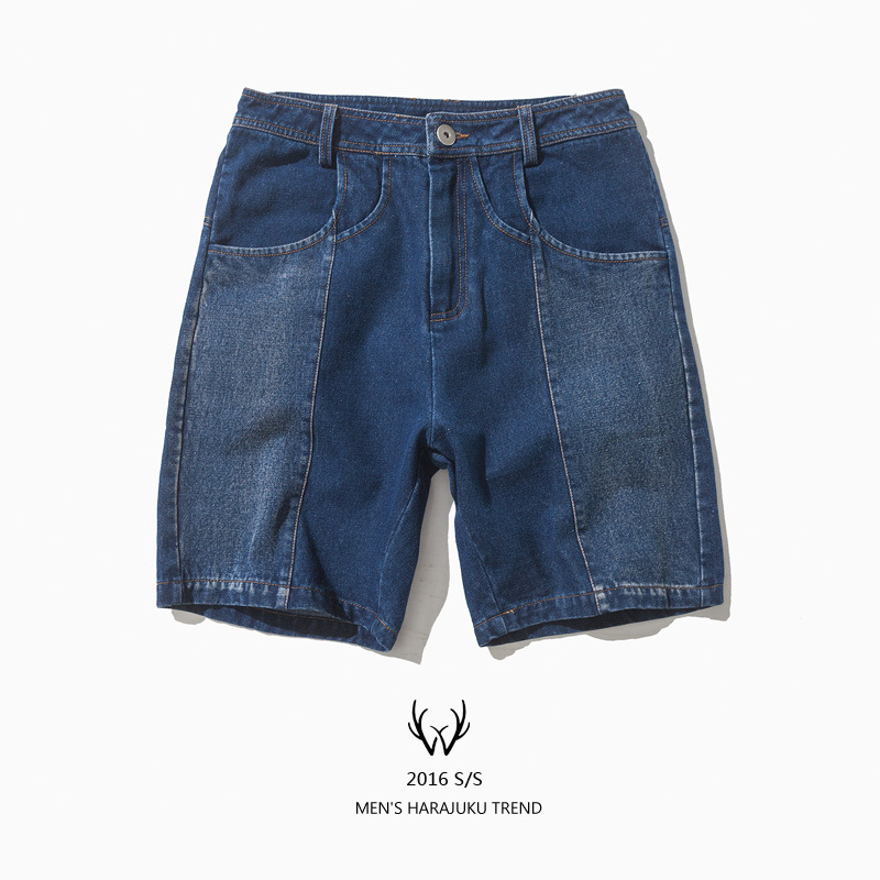 Jeans male summer brief the trend of street fashion color block decoration water wash denim shorts