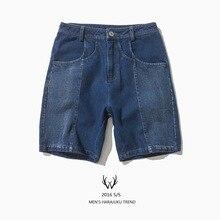 Джинсы летние мужские краткое тенденция уличной моды цвет блока украшение промывочной воды джинсовые шорты