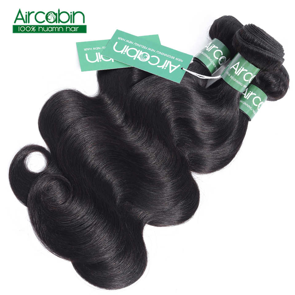 Волосы Aircabin пучки волнистых волос с закрытием перуанские накладные волосы пучки с закрытием человеческие волосы пучки для наращивания не Реми